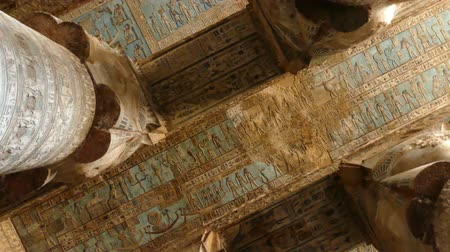 womanhood : ancient painting on the ceiling at Dendera Temple. Ancient Egyptian temple near Qena. Rotating camera. Stock Footage