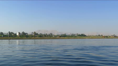 aswan : Nile river landscape - view from boat Stock Footage