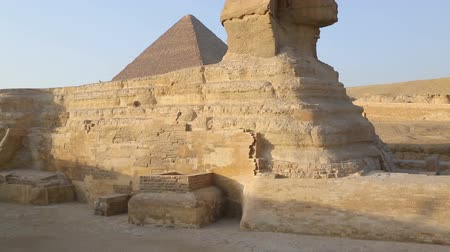 piramit : famous ancient Sphinx and Cheops pyramid in Giza Cairo Egypt - tilt Stok Video