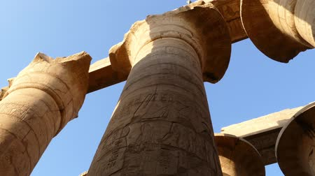 faraon : top of columns in karnak temple with ancient egypt hieroglyphics - pan view 4k