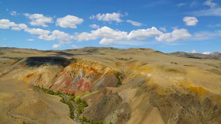 em camadas : Landscape with deposit of colorful clay in the Altai Mountains or Mars valley, tilt view