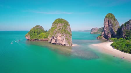Aerial view on tropical beach (Pranang beach) and rocks, Krabi, Thailand, 4k Stock mozgókép