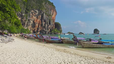 Landscape with tropical beach (Pranang beach) and rocks, Krabi, Thailand, 4k Stock mozgókép