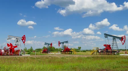natural resource : many working oil pumps in a row at sunny day, 4k Stock Footage