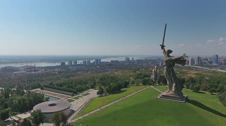 kard : Aerial view on monument of Motherland Calls in Mamayev Kurgan memorial complex in Volgograd, Russia
