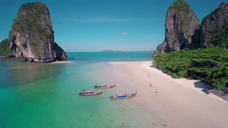 serenidade : Aerial view on tropical beach (Pranang beach) and rocks, Krabi, Thailand