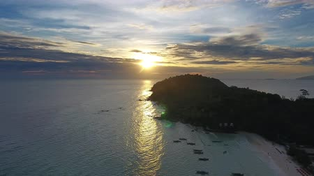beach panorama : Aerial view on tropical Ko Lipe island in the Andaman Sea at sunset, Thailand