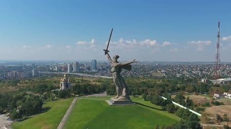 kard : VOLGOGRAD, RUSSIA - CIRCA AUG 2016: Aerial view on monument of Motherland Calls in Mamayev Kurgan memorial complex in Volgograd (former Stalingrad) Stock mozgókép
