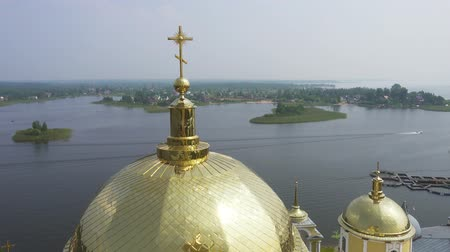 nil : Aerial view on Nilo-Stolobensky (Nil) deserts - Orthodox monastery and the lake Seliger, Tver region, Russia, 4k
