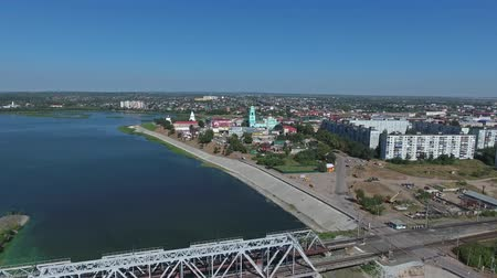 volga region : Aerial view on Syzran city and railroad bridge, Russia, 4k Stock Footage