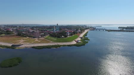 volga region : Aerial view on Syzran city, placed on Volga river, Russia, 4k Stock Footage