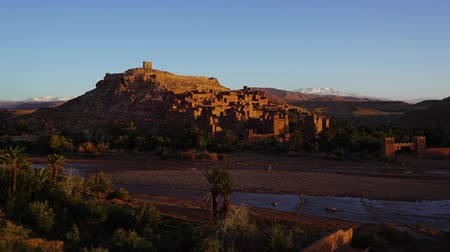 fortress : Kasbah Ait Ben Haddou in the Atlas Mountains, Morocco, timelapse 4k