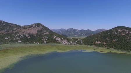 Aerial view of Skadar Lake in Montenegro at summer, 4k