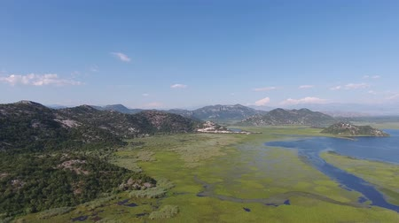 Aerial panorama view of Skadar Lake in Montenegro at summer, 4k