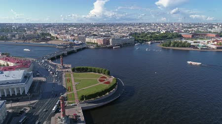 peter and paul fortress : Aerial panorama view of the city center of St. Petersburg Petersburg, Rostral columns and Peter and Paul Fortress, Russia, 4k Stock Footage