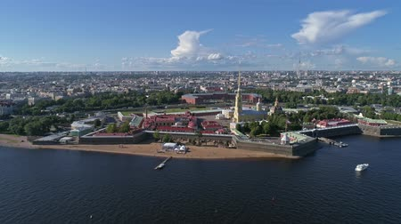 peter and paul fortress : Flight around the Peter and Paul Fortress, the city center of St. Petersburg. Petersburg, Russia, 4k Stock Footage