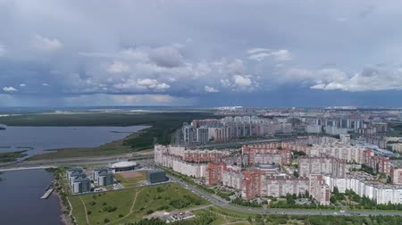 gazprom : Aerial panorama of St.Petersburg. Petersburg, the skyscraper Lakhta Center and the new stadium, Russia, 4k Stock Footage