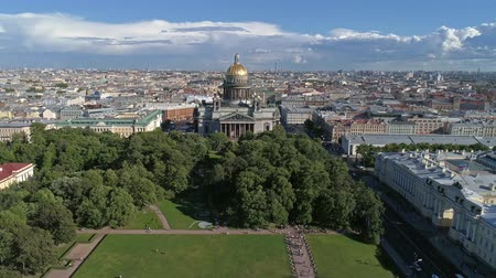 st isaac's cathedral : Flight near Saint Isaacs Cathedral. Petersburg, Russia, 4k