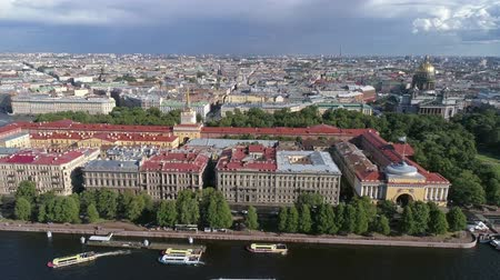 st isaac's cathedral : Flight over the Neva River near Admiralty, Saint Isaacs Cathedral. Petersburg, Russia, 4k Stock Footage