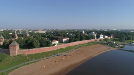 torre sineira : Aerial view on the Volkhov river, 4k Stock Footage