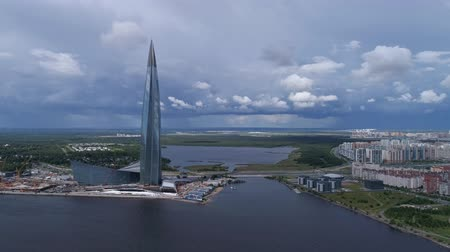 gazprom : Aerial around view of skyscraper Lakhta Center in St. Petersburg, Russia, 4k