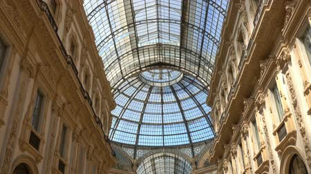 tracking : Walking in Galleria Vittorio Emanuele II, gallery, Milano, Milan, Lombardy, Italy Stock Footage