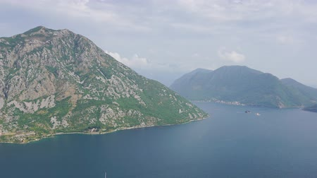 адриатический : Kotor bay (Boka Kotorska) and mountains in Montenegro, Europe, panorama timelapse 4k