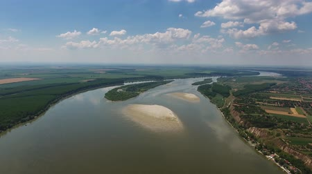 plain : Aerial view of the Danube river in Serbia, 4k