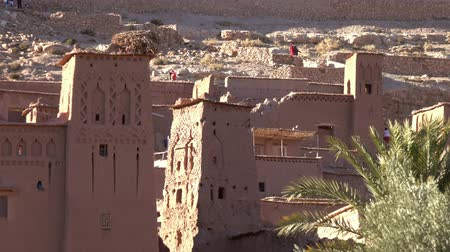 fortificado : Towers of Kasbah at sunset, Morocco, zoom out 4k Stock Footage
