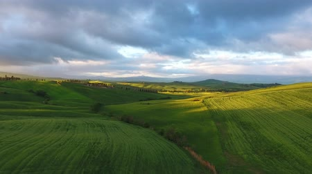 toscana : Tuscany aerial sunrise farmland hill country landscape. Italy, Europe, 4k
