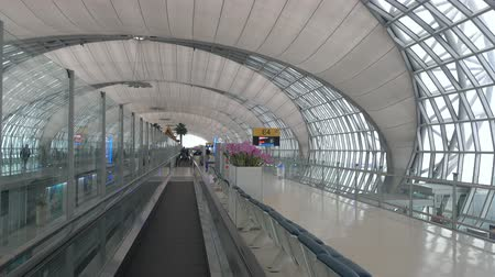 glass structure : BANGKOK, THAILAND - CIRCA JAN 2018: Moving inside of Suvarnabhumi Airport. Airport airport bangkok airport