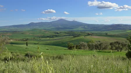 pastoral land : Tuscany landscape with farmland fields in Italy, Europe, 4k