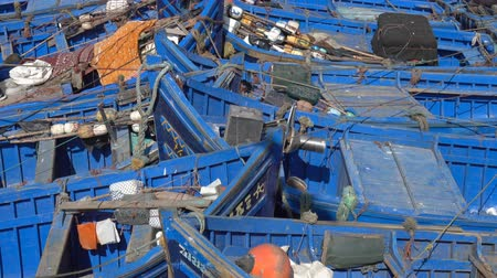 марокканский : Blue fishing boats in the port of Essaouira, Morocco
