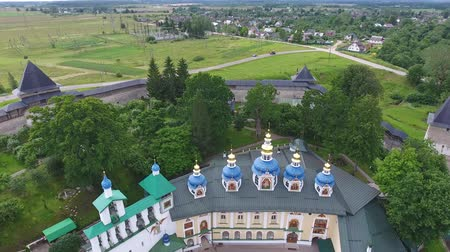 bell tower : Aerial view on the Pskov-Caves monastery or the Pskovo-Pechersky monastery at summer, 4k