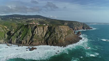 континентальный : Aerial around lighthouse at Cape Roca (Cabo da Roca) - the westernmost point of continental Europe, Portugal, 4k