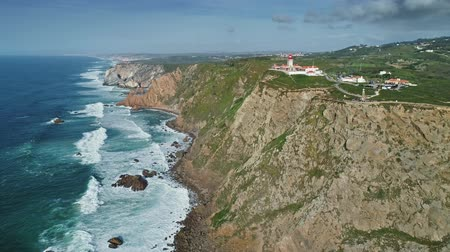 континентальный : Aerial View at Cape Roca (Cabo da Roca) - the westernmost point of continental Europe, Portugal, 4k