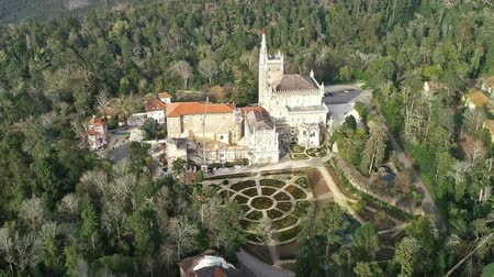convento : Aerial around and park of Bussaco, Coimbra, Portugal Stock Footage