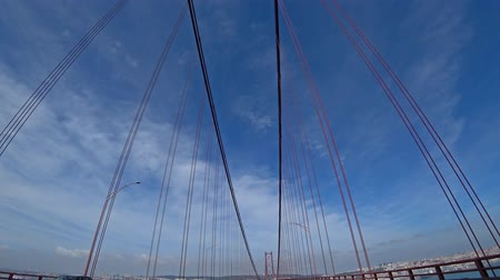 mosty : Driving on the bridge in Lisbon city, Portugal, 4k