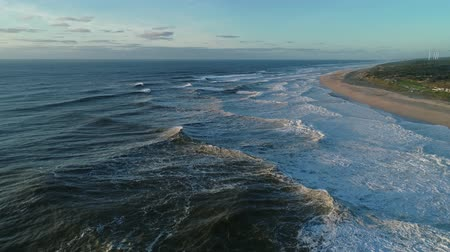 sable texture : Atlantic ocean in Nazare, Portugal, slow motion 4k