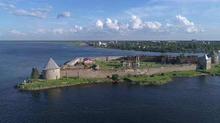 armadilha : Aerial around the island of Neva river near Shlisselburg
