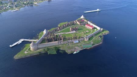régiók : Aerial around the island of Neva river near Shlisselburg