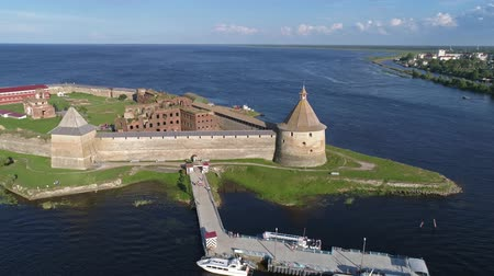 csapdába : Aerial around the island of Neva river near Shlisselburg