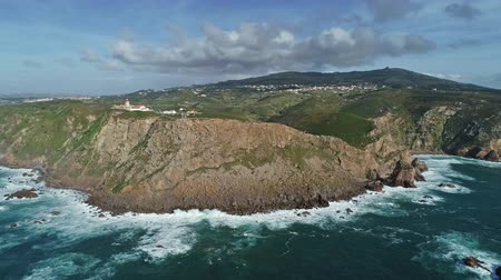 континентальный : Aerial panorama of the Cabo da Roca - the westernmost point of the continental Europe, Portugal, 4k