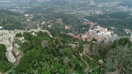 mouro : Aerial panorama view of Castelo dos Moors or Moorish Castle (Moors), Sintra, Portugal, 4k
