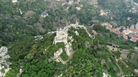 mouro : Aerial around view of Castelo dos Moors or Moorish Castle (Moors), Sintra, Portugal