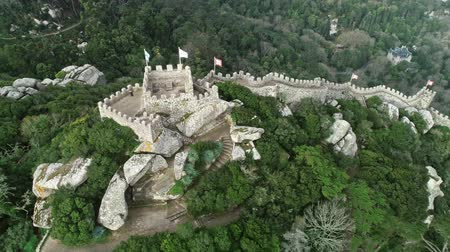 mór : Aerial around view of Castelo dos Moors or Moorish Castle (Moors), Sintra, Portugal, 4k