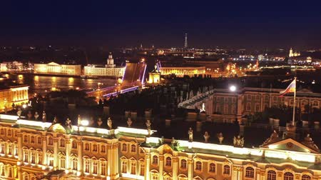 winter palace : Aerial view of the Alexander Column on Palace Square, the Winter Palace and the Palace bridge and in St. Petersburg at night, Russia, 4k