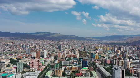 moğolistan : Aerial view of center of Ulaanbaatar city, capital of Mongolia, 4k