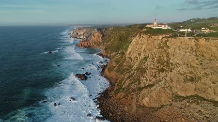 Западная Европа : Aerial view of the Cabo da Roca at sunset - the westernmost point of the continental Europe, Portugal, 4k