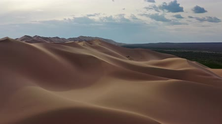 desolado : Aerial view of the sand dunes Hongoryn Els in Gobi Desert, Mongolia, 4k
